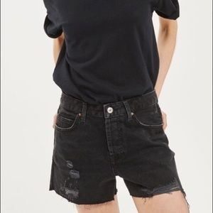 Topshop MOTO Ashley Button Fly Denim Shorts